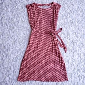 LOFT Red and White Tie Belt Rayon Dress